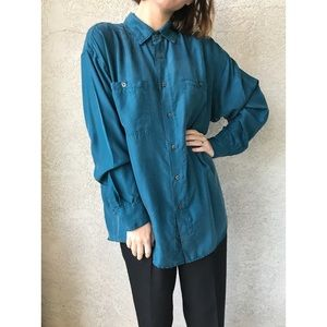 [vintage] 100% silk teal button up blouse